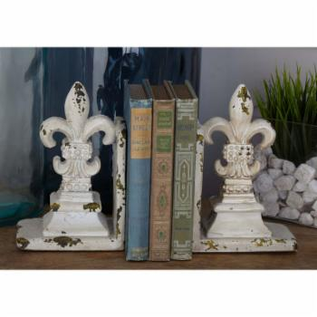 DecMode Fleur De Lis Bookend - Set of 2