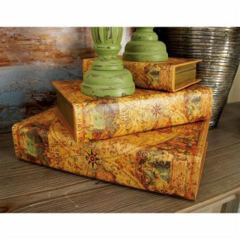 DecMode Rustic Wood and Leather Decorative Box - Set of 3