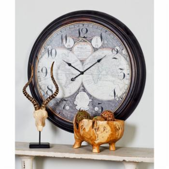 DecMode Map Face Wall Clock - 37 diam. in.