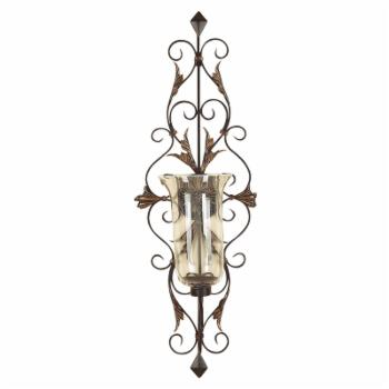 DecMode 37 in. Candle Wall Sconce - Gold