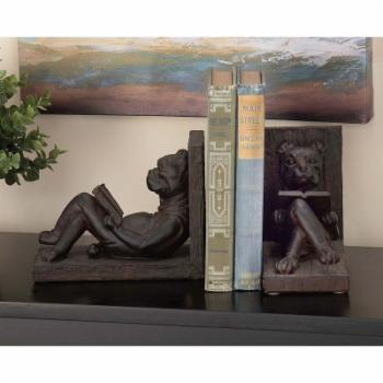 DecMode Reclining Dog Polystone Bookends