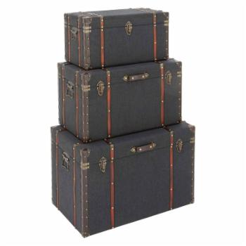 DecMode Wood and Fabric Trunks - Set of 3