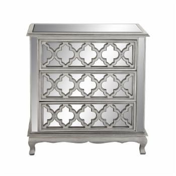 DecMode Quatrefoil 3 Drawer Mirrored Chest