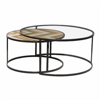 DecMode Round Coffee Table - Set of 2