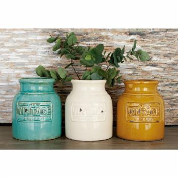 DecMode Ceramic Vintage Cutlery Jar - Set of 3
