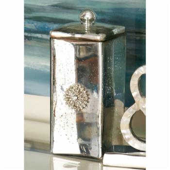 DecMode 10 in. Glass Decorative Box - Silver