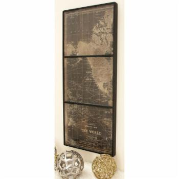 DecMode Distressed Wood 3 Panel World Map Wall Panel
