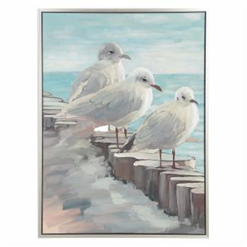 DecMode Wood Framed Perched Birds On Log Wall Art