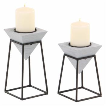 DecMode Gray Inverted Pyramid Wooden Candle Holders with Black Iron Stand - Set of 2