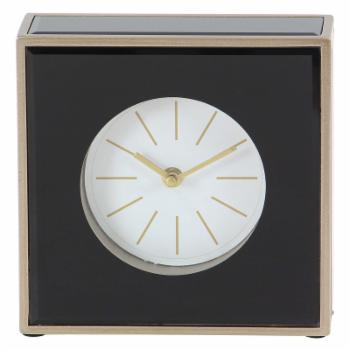 DecMode 8 in. Modern Wood and Glass Square Table Clock