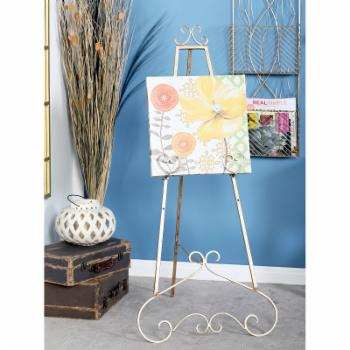 DecMode 48 in. Iron Gold Scrolled Heart Easel