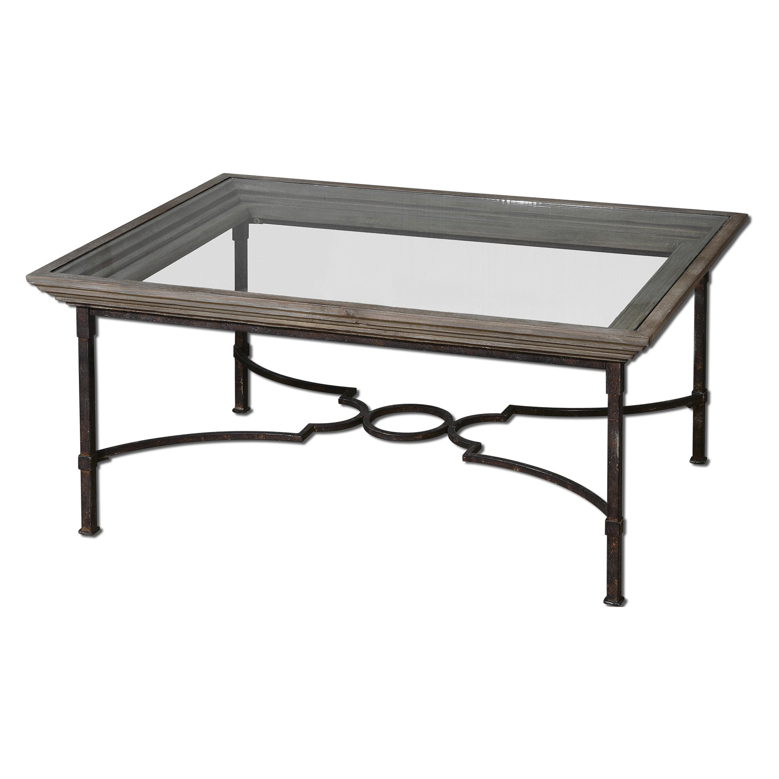 Uttermost Huxley Rectangle Weathered Iron and Glass Top Coffee