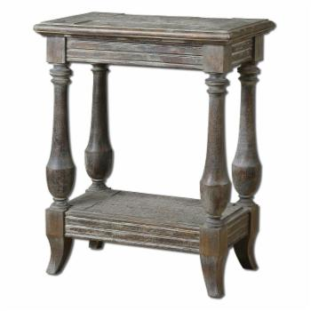 Uttermost Mardonio Rectangle Rustic Limestone Wood Side Table with Shelf