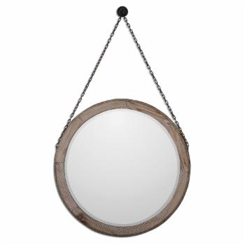 Uttermost Loughlin Round Wood Mirror - 34W x 34H in.