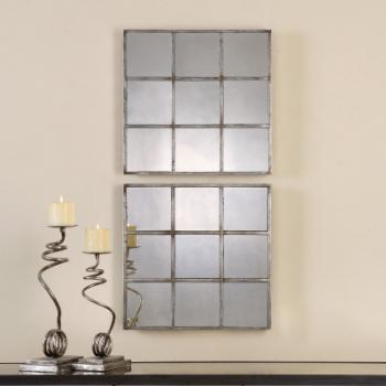 Uttermost Derowen Squares Antique Mirrors - Set of 2 - 18W x 18H in.ea.