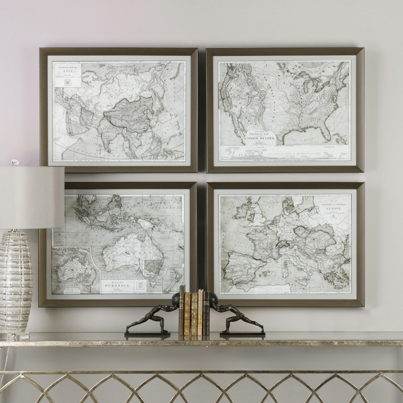 Uttermost world maps wall art set of 4 hayneedle gumiabroncs Gallery