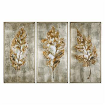 Uttermost Champagne Leaves Wall Art - Set of 3