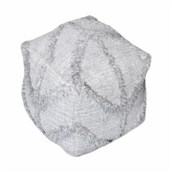 HN Home Conrad Modern Farmhouse Gray Pouf