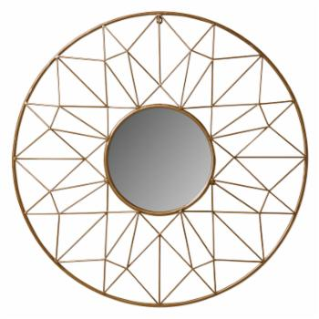 Kate and Laurel Round Geometric Metal Wall Mirror