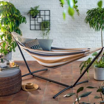 Coral Coast Brown/Black Stripe 9 ft. Single Hammock with Metal Stand