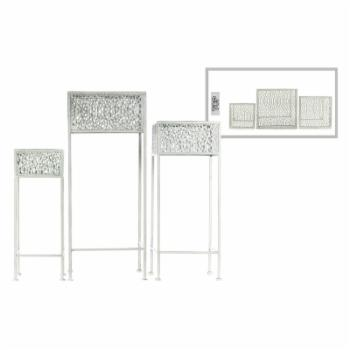 Urban Trends Square Plant Stand with Pierced Lattice Design and 3 Legs - Set of 3