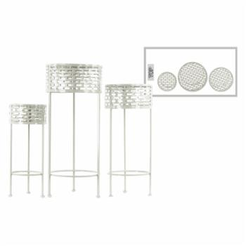 Urban Trends Round Plant Stand with Pierced Design and 3 Legs - Set of 3