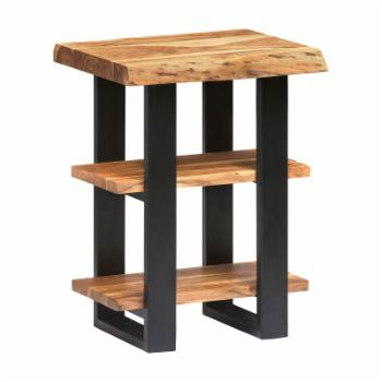 Alaterre Alpine Natural Live Edge Wood 2-Shelf End Table