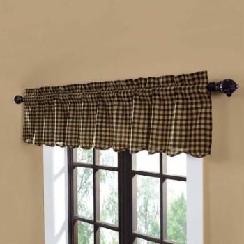 VHC Brands Check Scalloped Valance