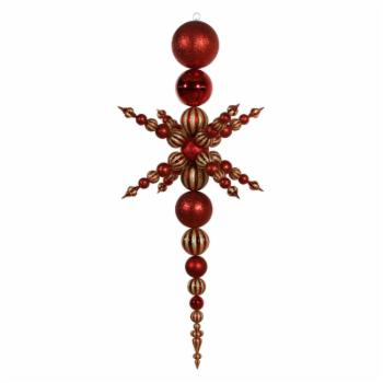 Vickerman 76 in. Red 3 Finish Snowflake Finial