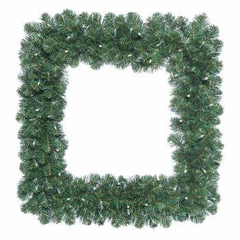 Vickerman 30 in. Oregon Fir Square Pre-Lit Wreath with 70 Warm White Lights