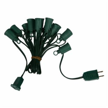 Vickerman 100-ft. C7 Socket String with 100 C7 Sockets on SPT1 18 Gauge Green Wire