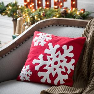 vickerman felt flakes holiday pillow