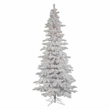 Flocked White Slim Pre-lit LED Christmas Tree