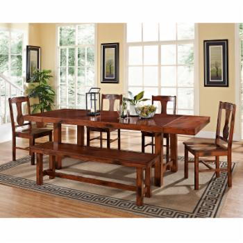 Walker Edison Rocky Hill 6-Piece Solid Wood Dining Set - Dark Oak