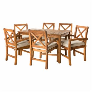 Manor Park Simple X Design Acacia Wood 7 Piece Patio Dining Set