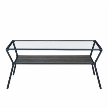 Manor Park Modern 42 in. Metal and Glass Coffee Table