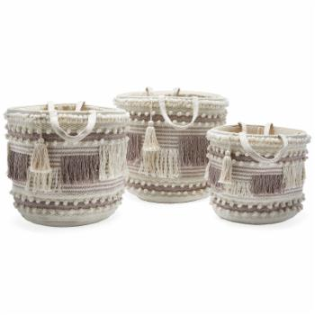 Hand Woven Macrame 3 Piece Basket Set Natural and Taupe by Drew Barrymore Flower Home