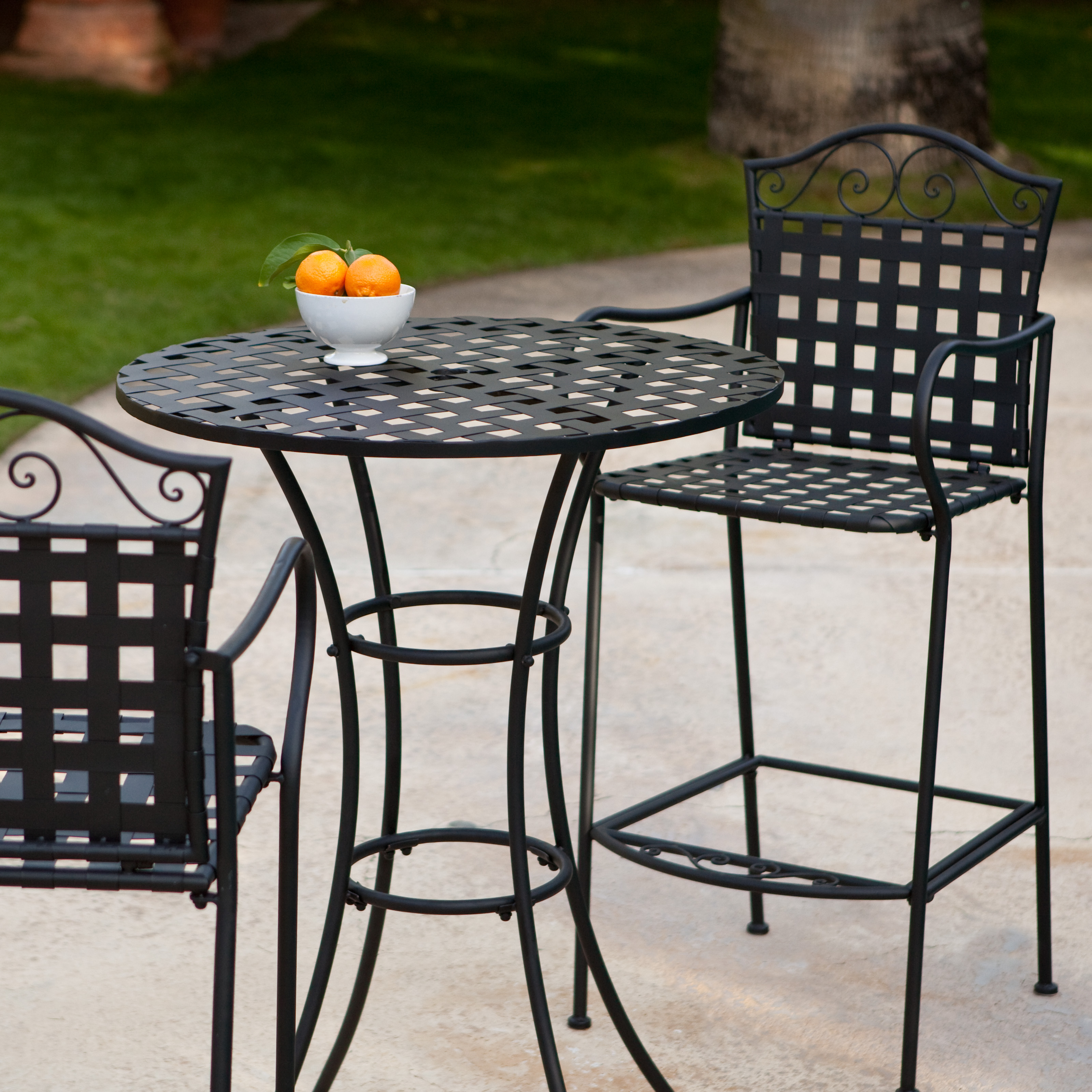 Belham Living Wrought Iron Bar Height Bistro Set by Woodard