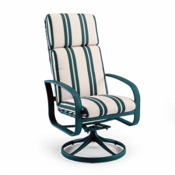 Woodard Cayman Isle Cushion High Back Swivel Rocker Dining Chair