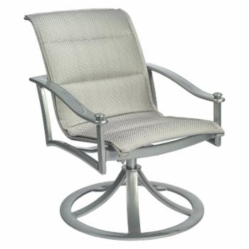 Woodard Nob Hill Aluminum Swivel Padded Sling Patio Dining Arm Chair