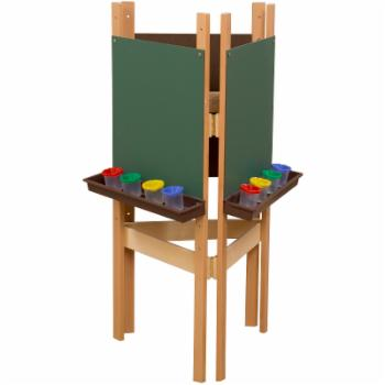 Wood Designs 3 Way Easel with Chalkboard and Brown Trays