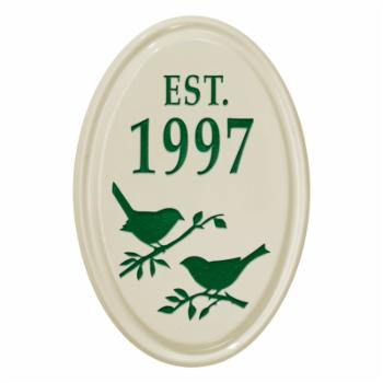 White Hall Bird Silhouette Ceramic Oval Petite Wall Vertical Address Plaque
