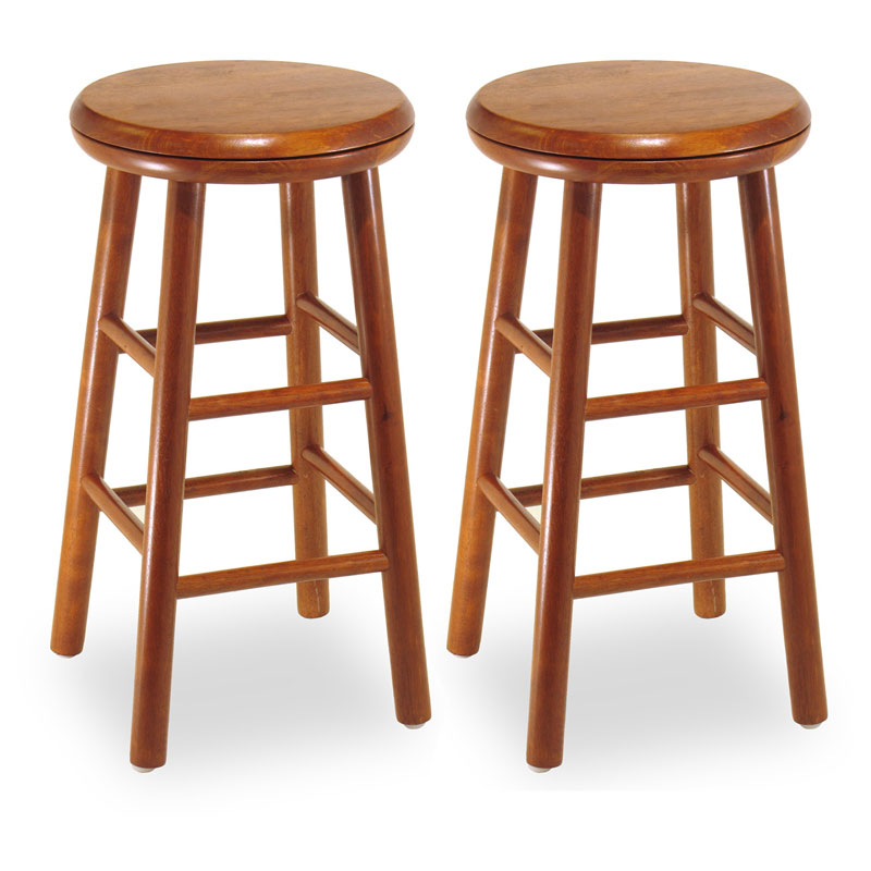 Winsome 24 Inch Charger Swivel Counter Stool Set Of 2 Hayneedle