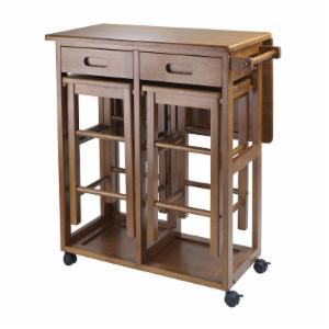 Winsome E Saver 3 Piece Small Table With 2 Nesting Stools