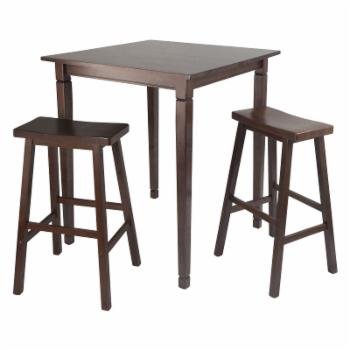 Winsome Kingsgate 3-Piece Pub Table Set with Saddle Stools