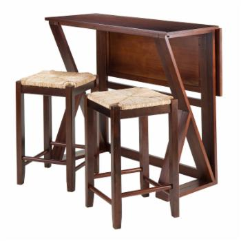 Winsome Trading Harrington 3 Piece Counter Height Dining Table Set with 24 in. Rush Seat Stools