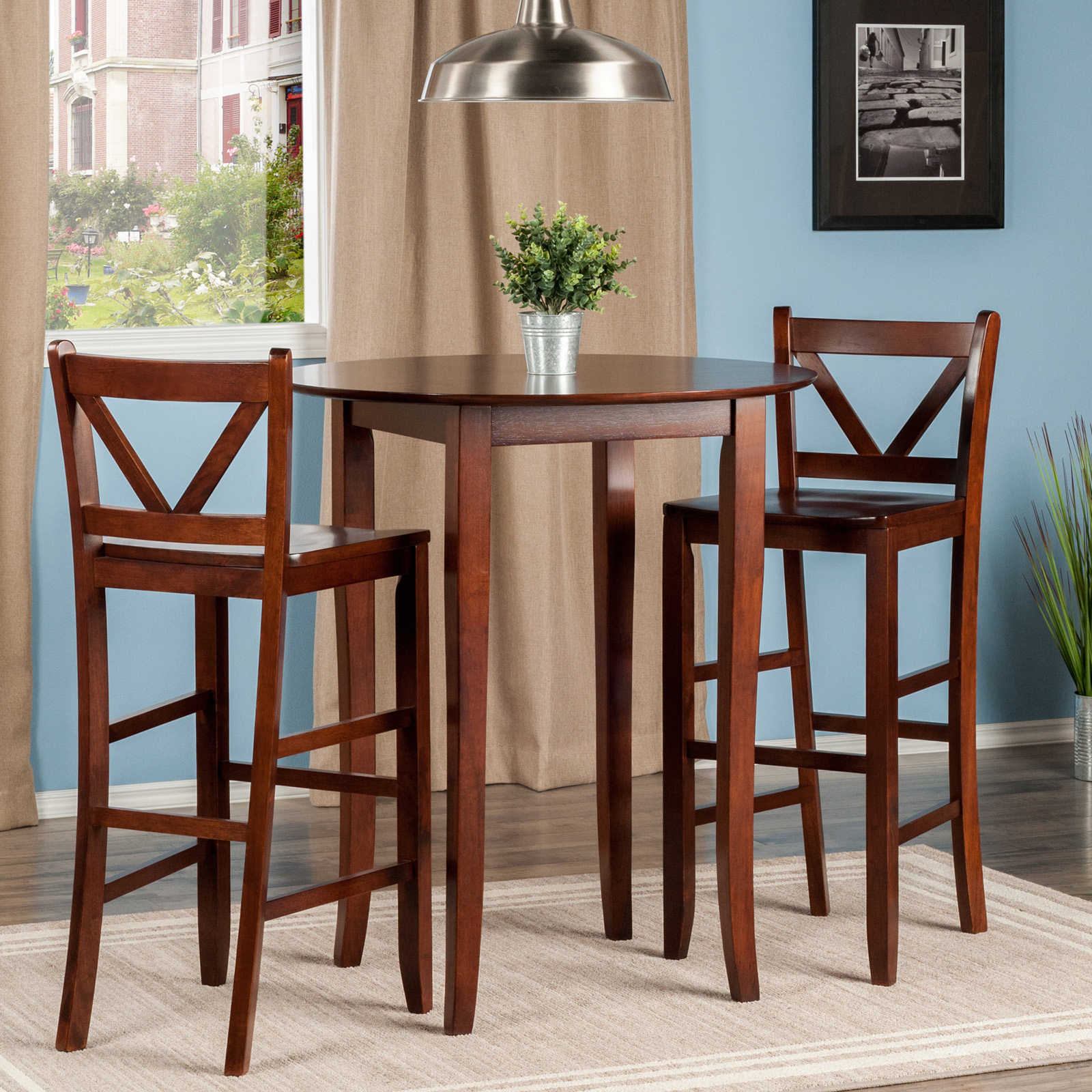 Counter height round table and chairs - Winsome Trading Fiona 3 Piece Counter Height Round Dining Table Set Hayneedle