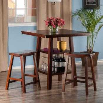Winsome Orlando 3 Piece Counter Height Pub Set with Backless Stools