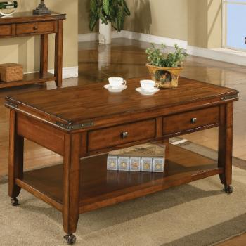 Mango 2 Drawer Coffee Table with Caster - Mango