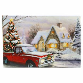 Winsome House Winter Wonderland Home for the Holidays Truck LED Canvas Wall Art